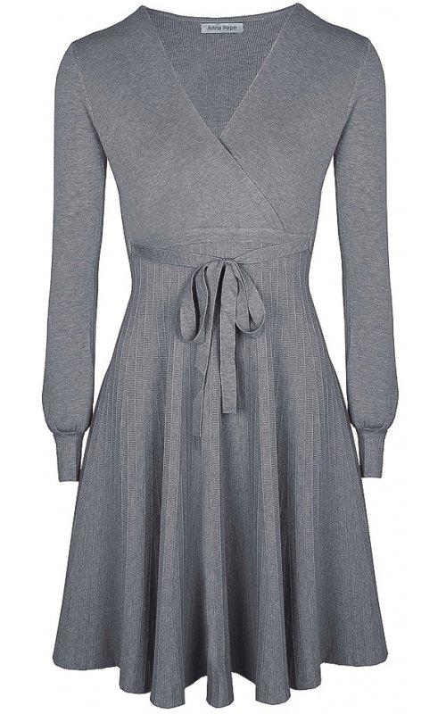 Серое платье с V-образным вырезом и поясом Anna Pepe AP 5573