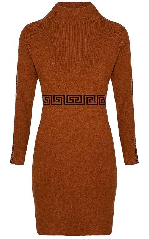 Коричневое трикотажное платье с принтом Anna Pepe AP 7993