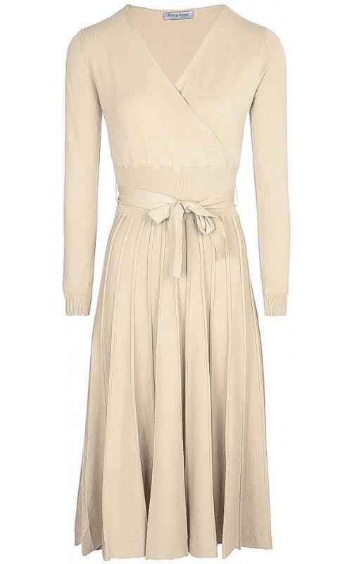 Молочное длинное платье с V-образным вырезом Anna Pepe AP 5511