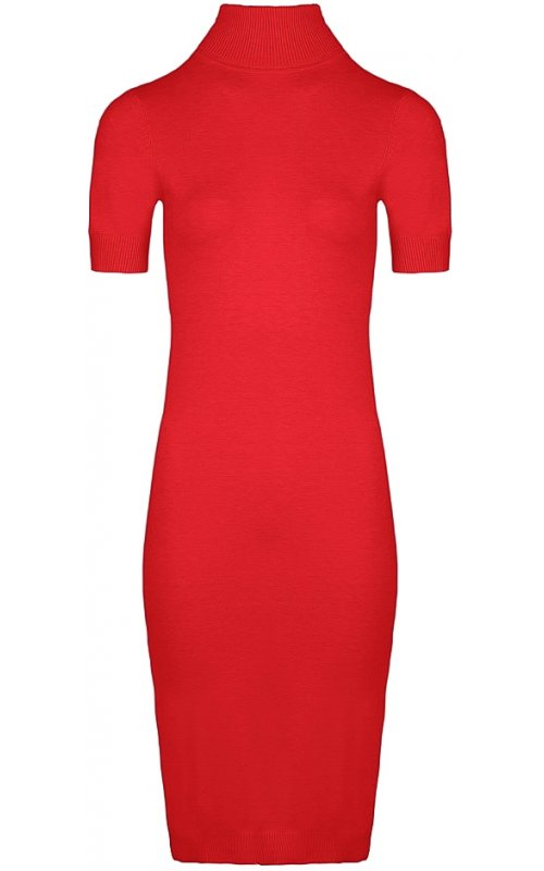 Красное трикотажное платье с коротким рукавом Anna Pepe AP 627