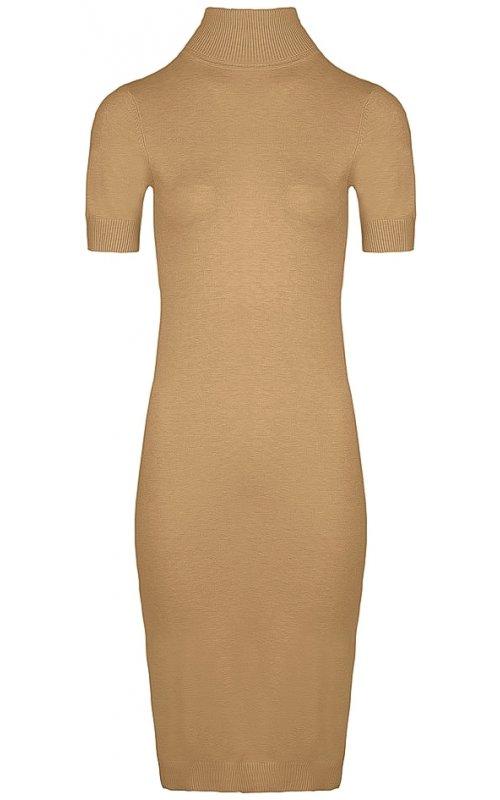 Трикотажное платье цвета капучино с коротким рукавом Anna Pepe AP 627
