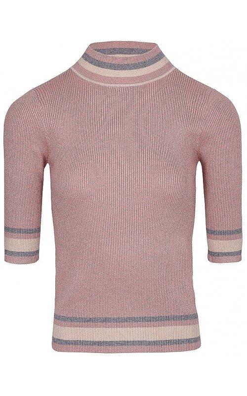 Розовый джемпер с коротким рукавом и окантовкой Anna Pepe AP 95343