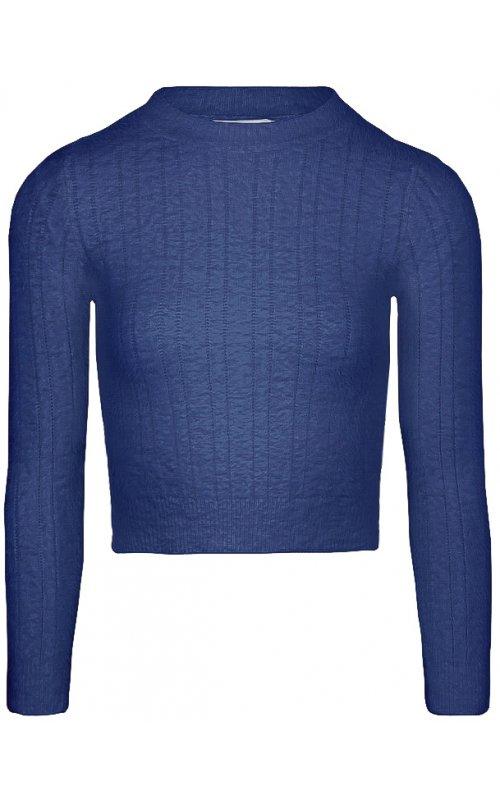 Синий укороченный джемпер с длинным рукавом Anna Pepe AP 126