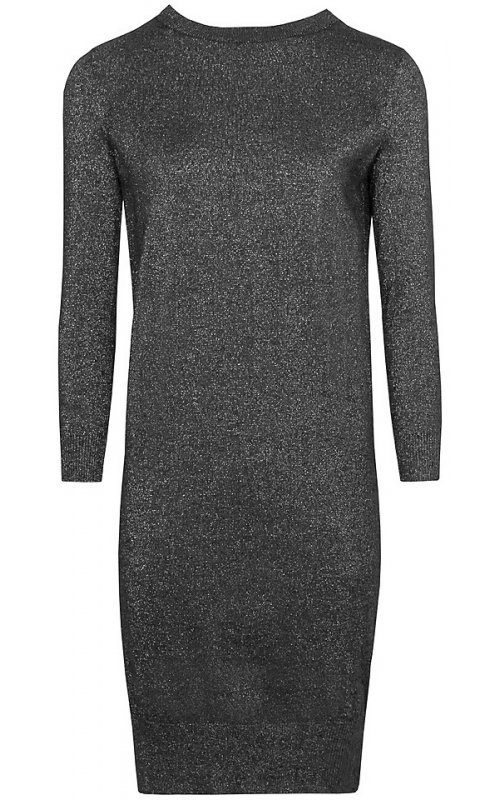 Черное трикотажное платье с серебряным люрексом Anna Pepe AP 30014