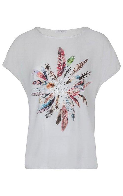 """Белая футболка с принтом """"перья"""" Anna Pepe AP 15022"""