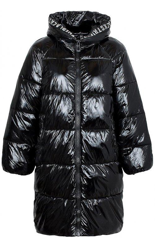Черная удлиненная куртка с капюшоном FLY F 1538