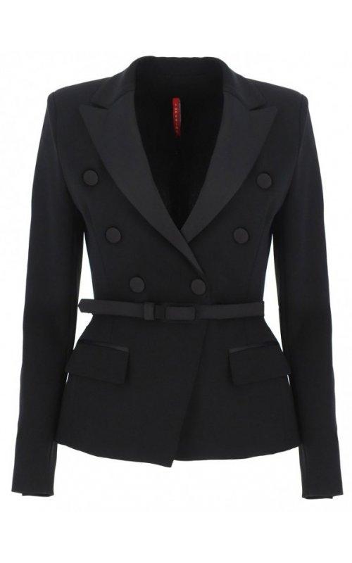 Черный двубортный пиджак с поясом IMPERIAL JX03AAZC