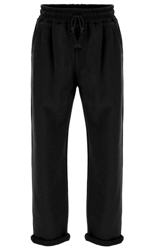 Черные брюки-джоггеры на флисе с кулиской IMPERIAL P1O7ABW