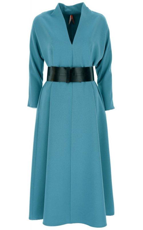 Изумрудное платье миди с V-образным вырезом и поясом IMPERIAL AAFZACX