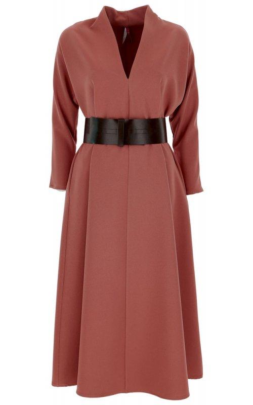 Темно-розовое платье миди с V-образным вырезом и поясом IMPERIAL AAFZACX
