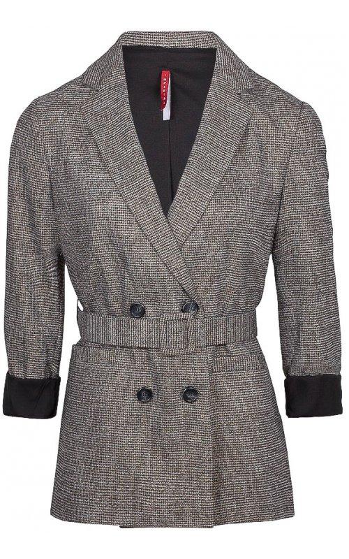 Черный двубортный пиджак с поясом IMPERIAL JW09AKUC