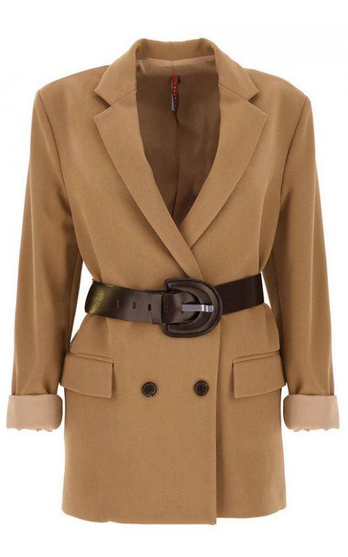 Бежевый двубортный пиджак с поясом IMPERIAL JX12ACX