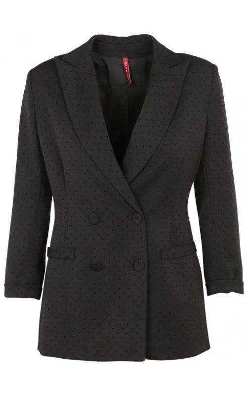 Черный двубортный пиджак в мелкий черный горошек IMPERIAL JW26AFJ