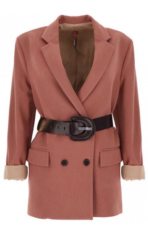 Темно-розовый двубортный пиджак с поясом IMPERIAL JX12ACX