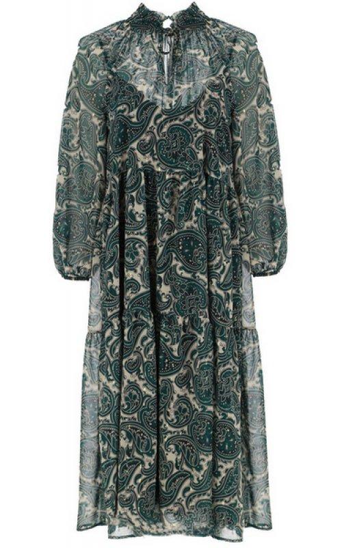 Бежевое платье с зеленым принтом IMPERIAL ABAYANU
