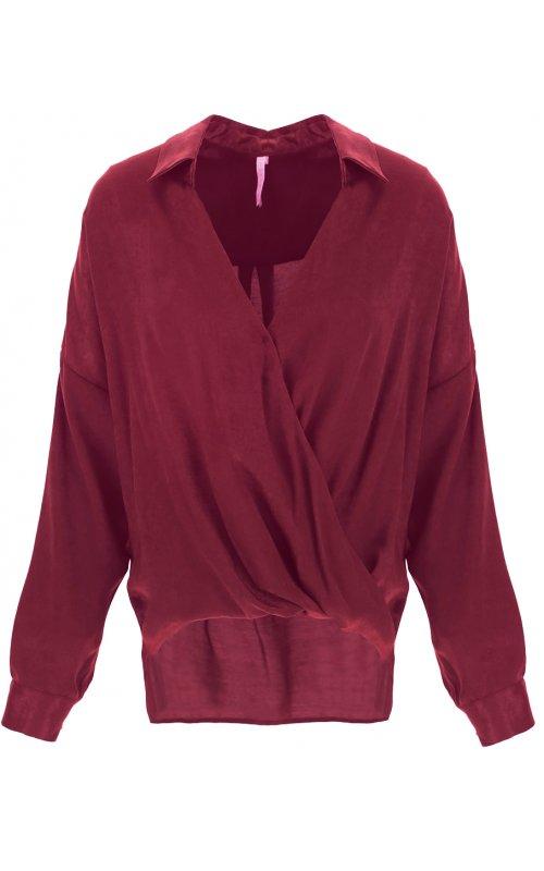 Бордовая блуза с V-образным вырезом IMPERIAL CJF4AGU