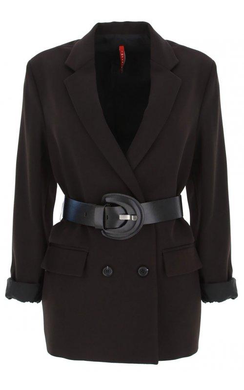 Черный двубортный пиджак с поясом IMPERIAL JX12ACX