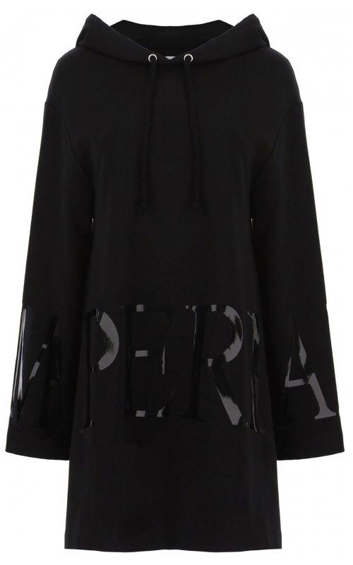 Черное платье макси-худи с логотипом IMPERIAL ABBMABHSTI