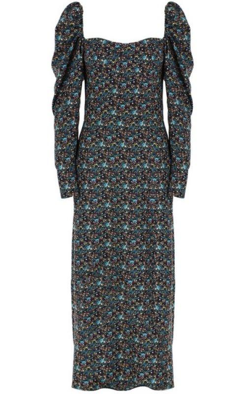 Черное платье с принтом и разрезом IMPERIAL ABGWAMO
