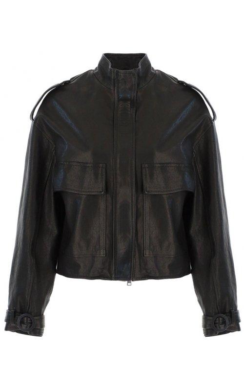 Черная кожаная куртка с присборенным низом IMPERIAL V3025362