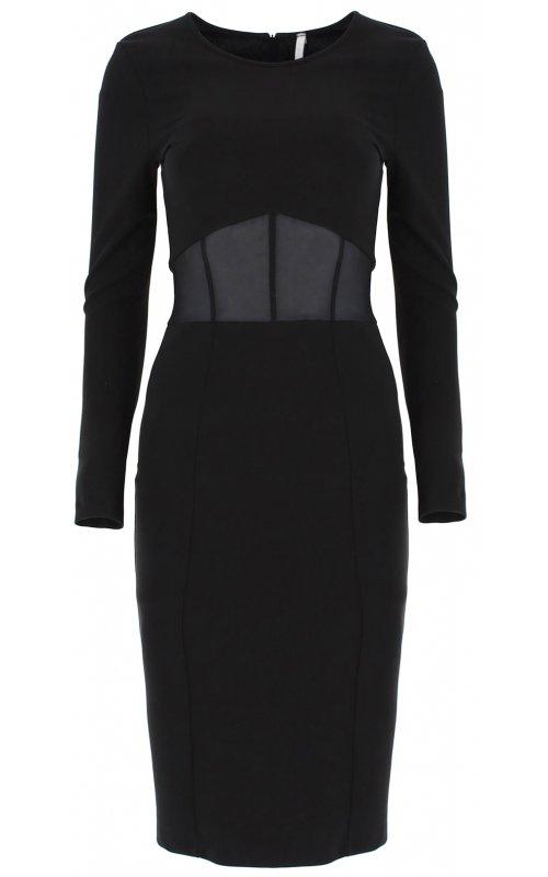 Черное платье миди с прозрачным вырезом IMPERIAL ABEJAAZ