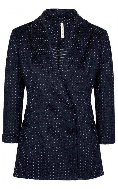 Темно-синий двубортный пиджак в мелкий горошек IMPERIAL JW38ARS