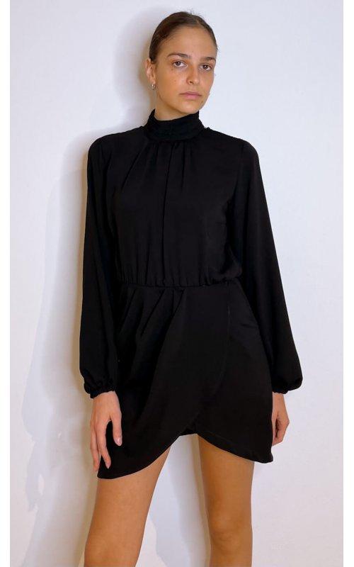 Черное мини-платье с запахом на юбке IMPERIAL A9990018M