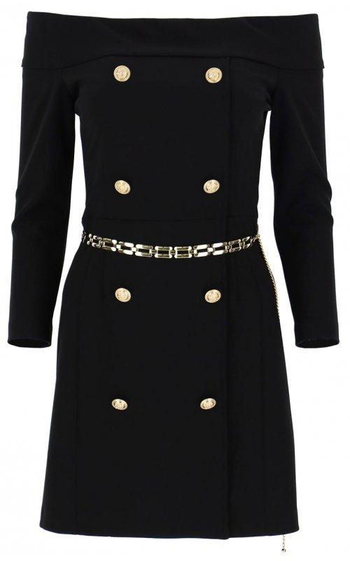 Черное мини-платье с вырезом и пуговицами IMPERIAL AB8XCDH