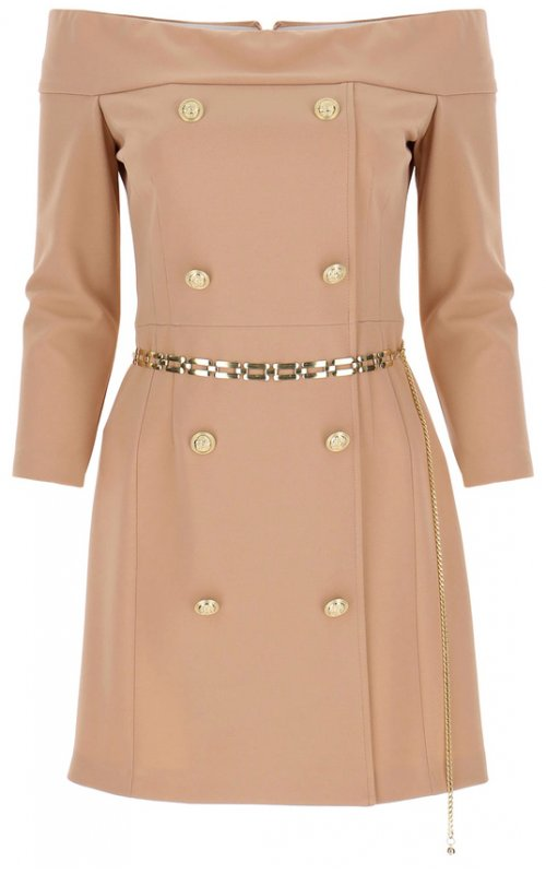 Розовое мини-платье с вырезом и пуговицами IMPERIAL AB8XCDH