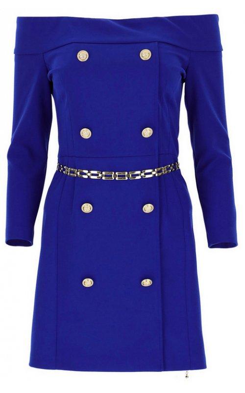 Синее мини-платье с вырезом и пуговицами IMPERIAL AB8XCDH