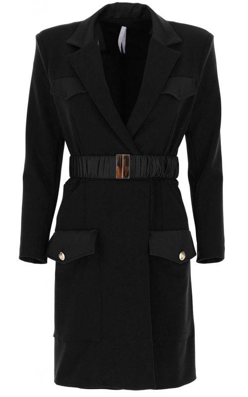 Черное платье-пиджак с поясом и карманами IMPERIAL AB8ZCDHC