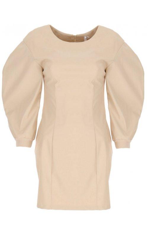 Кремовое платье из искусственной кожи с объемными рукавами IMPERIAL ACFKCEO