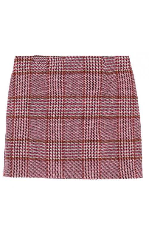 Розовая мини-юбка в клетку с принтом гусиная лапка IMPERIAL G9990020M