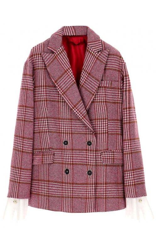 Розовый двубортный пиджак в клетку с принтом гусиная лапка IMPERIAL J9990022M