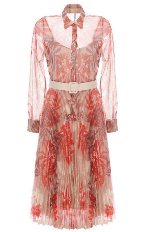 Розовое платье миди с принтом и плиссировнной юбкой IMPERIAL AATYZNOP