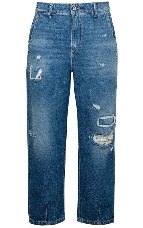 Синие джинсы с потертостями PLEASE P0EOKM7MCK