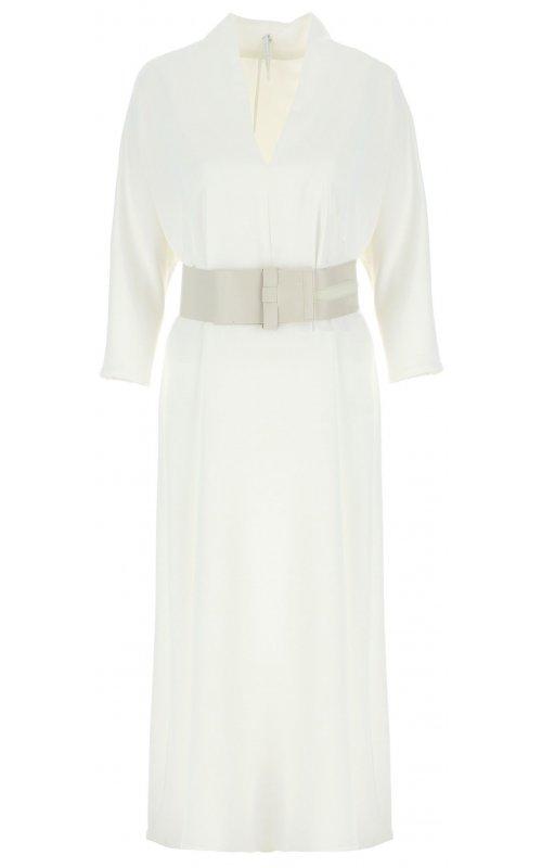 Длинное молочное платье с поясом IMPERIAL AAWBZHE