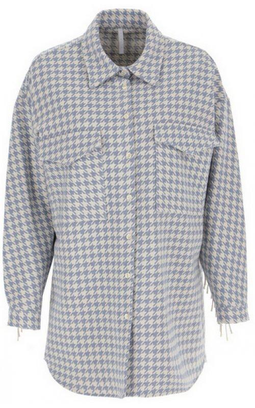 Кремово-голубая рубашка oversize с бахромой IMPERIAL CIO7BHX