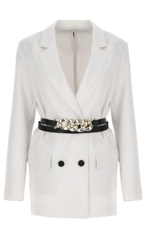 Молочный двубортный пиджак с поясом IMPERIAL JY22BBF