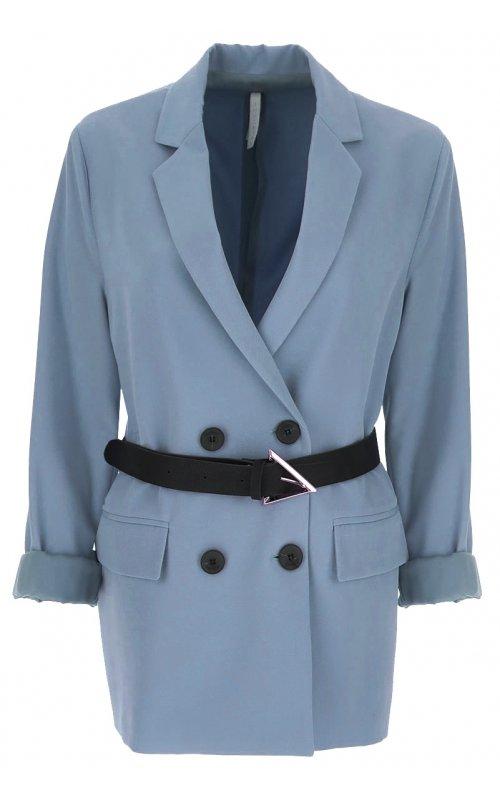 Голубой двубортный пиджак с поясом IMPERIAL JY55BHP