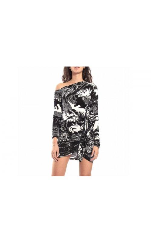Короткое платье с фантазийным принтом 52DR11029