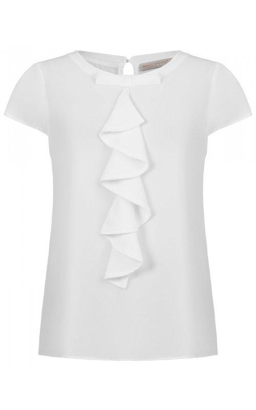 Белая блуза с оборкой RINASCIMENTO 91531