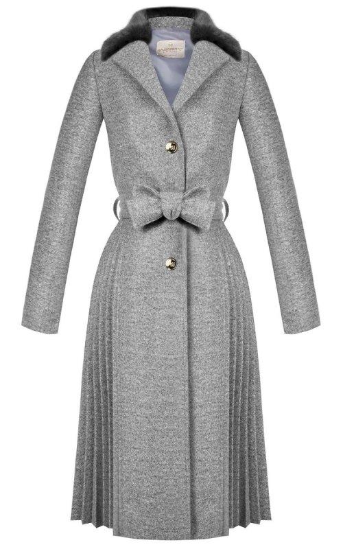 Серое пальто с плиссировкой RINASCIMENTO 99986