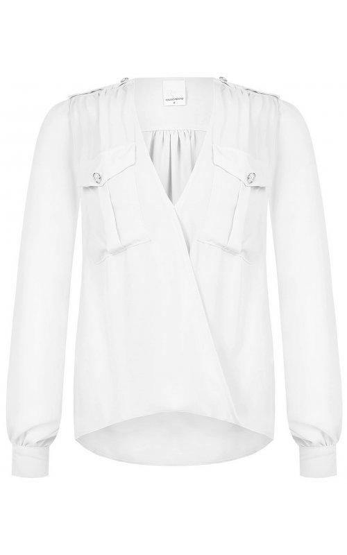 Белая блуза с накладными карманами RINASCIMENTO 97961