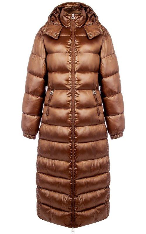 Коричневая длинная куртка с капюшоном RINASCIMENTO 99339