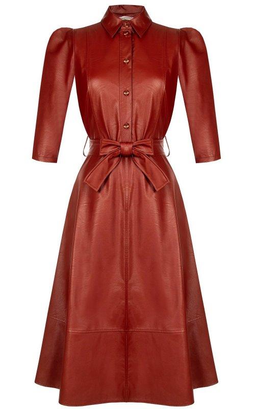 Темно-оранжевое платье с поясом RINASCIMENTO 100668