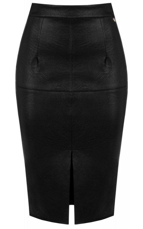 Черная юбка с разрезом из искусственной кожи RINASCIMENTO 96918