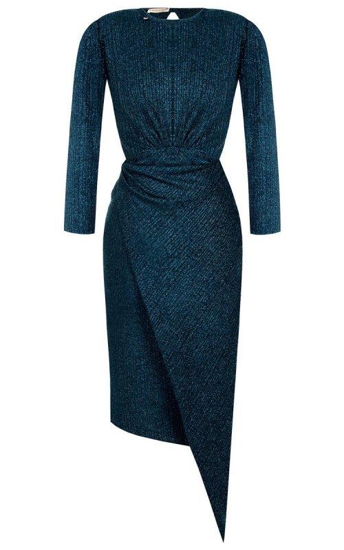 Синее платье-футляр миди с круглым вырезом RINASCIMENTO 101251