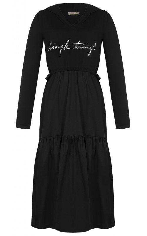 Черное платье с капюшоном RINASCIMENTO 96850