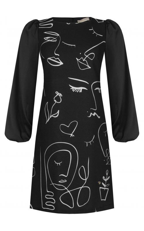 Черное платье с принтом RINASCIMENTO 97021